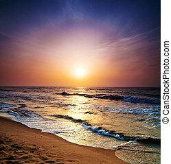 soluppgång, in, den, hav