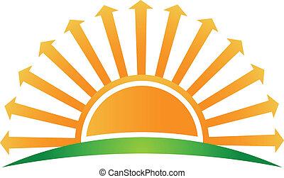 soluppgång, med, pilar, avbild, logo