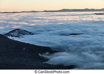 Soluppgång,  Mountains, Vinter, färgrik