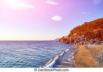 soluppgång, stranden
