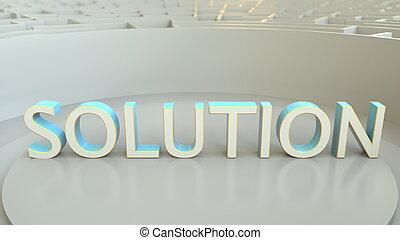solution, слово, в, , центр, of, , большой, maze., концептуальный, 3d, оказание