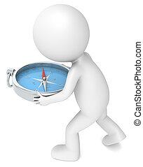 Solution. - 3D little human character Holding a Compass. ...