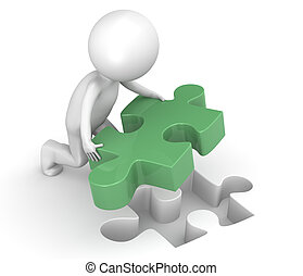 3d little human character with a Green Jigsaw Puzzle Piece