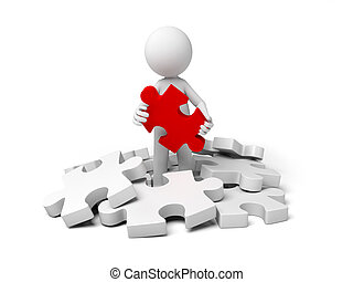 solution - 3d small person holding a red puzzle.