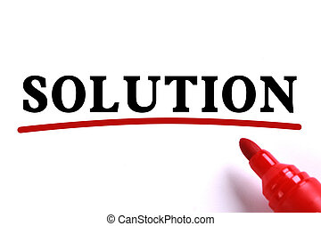 Solution Abstract - Solution text is on white paper with red...