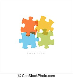 Solution - Abstract vector puzzle concept