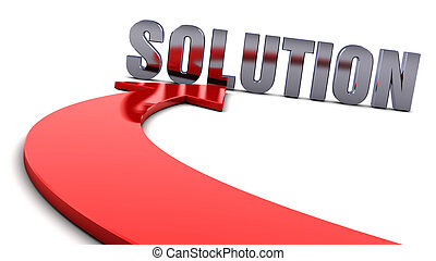 Solution and a red arrow