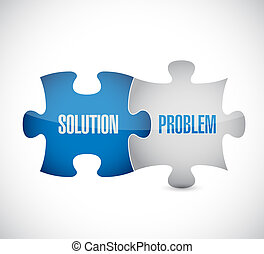 solution and problem puzzle pieces sign