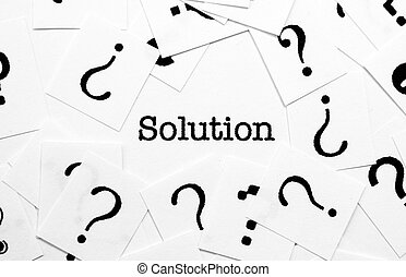 Solution and question mark