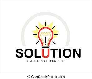 solution, bulb, typography.