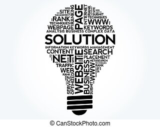 SOLUTION bulb word cloud, business concept