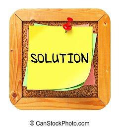 solution., bulletin., autocollant, jaune