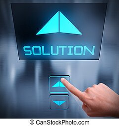 Solution business elevator - Finger push a button of the...