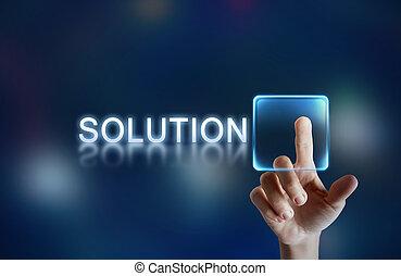 Solution button - Hand pressing virtual solution button