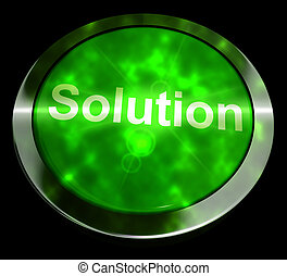 Solution Computer Button In Green Showing Success 3d Rendering