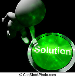Solution Computer Button Shows Success 3d Rendering