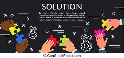 solution, concept affaires, communication, technologie, vecteur, icon., reussite, idée, travail, signe., personne, gestion, puzzle, stratégie, set., créatif, commercialisation, inspiration, bureau, graphique, connection., compagnie, problème