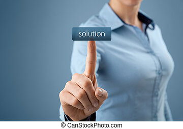Solution concept - Get solution concept. Businesswoman click...
