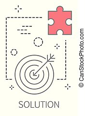Solution concept illustration. Solving the problem and finding creative solution. Line icon set with target and puzzle piece. Flat vector illustration