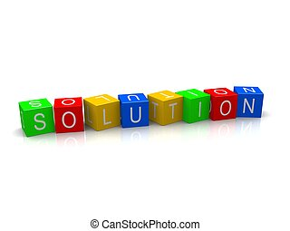 3d rendered illustration of the word solution on colorful cubes
