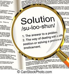 Solution Definition Magnifier Shows Achievement Vision And Success
