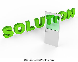 Solution Door Represents Resolution Doorframe And Achievement