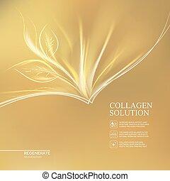 solution., dourado, collagen, fundo
