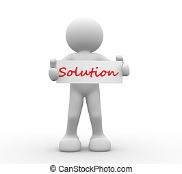 Solution - 3d people - man, person with board and word...