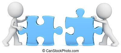 Dude the partners x 2 putting blue glass puzzle pieces together.