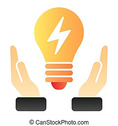 Solution flat icon. Light bulb in hands color icons in trendy flat style. Innovation gradient style design, designed for web and app. Eps 10.