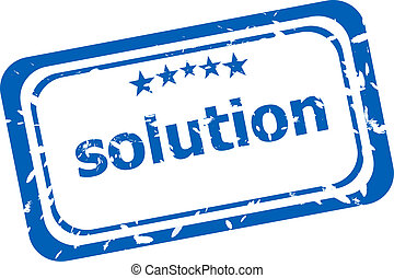 Solution grunge rubber stamp on white background