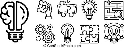 Solution icon set, outline style