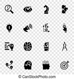 Solution icon set, simple style