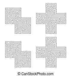 solution, isolé, compliqué, deux, sentier, labyrinthes, blanc rouge