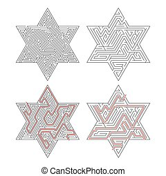solution, isolé, compliqué, sentier, labyrinthes, blanc rouge, a vedette-formé