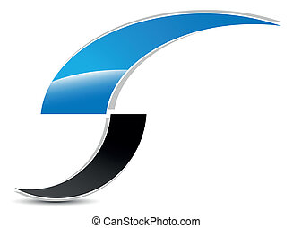 solution logo with shadow on a white background