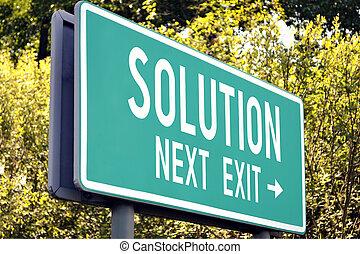 Solution - next exit sign