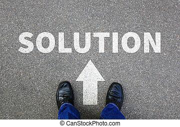 Solution problem success finding solutions conflict businessman business concept
