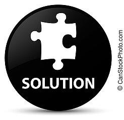 Solution (puzzle icon) black round button