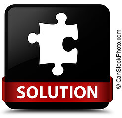 Solution (puzzle icon) black square button red ribbon in middle