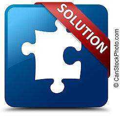 Solution (puzzle icon) blue square button red ribbon in corner