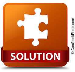 Solution (puzzle icon) brown square button red ribbon in middle