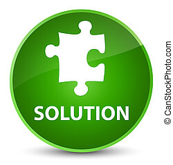 Solution (puzzle icon) elegant green round button