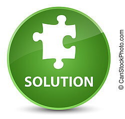 Solution (puzzle icon) elegant soft green round button