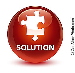 Solution (puzzle icon) glassy brown round button