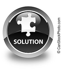 Solution (puzzle icon) glossy black round button