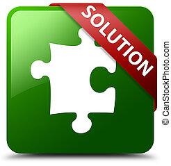 Solution (puzzle icon) green square button red ribbon in corner