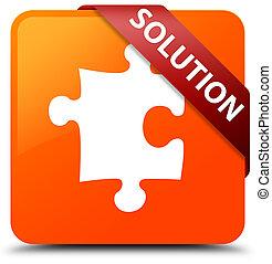 Solution (puzzle icon) orange square button red ribbon in corner