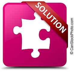 Solution (puzzle icon) pink square button red ribbon in corner