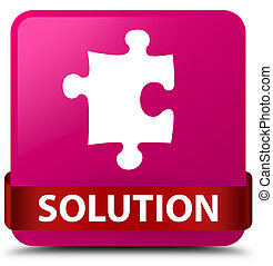 Solution (puzzle icon) pink square button red ribbon in middle